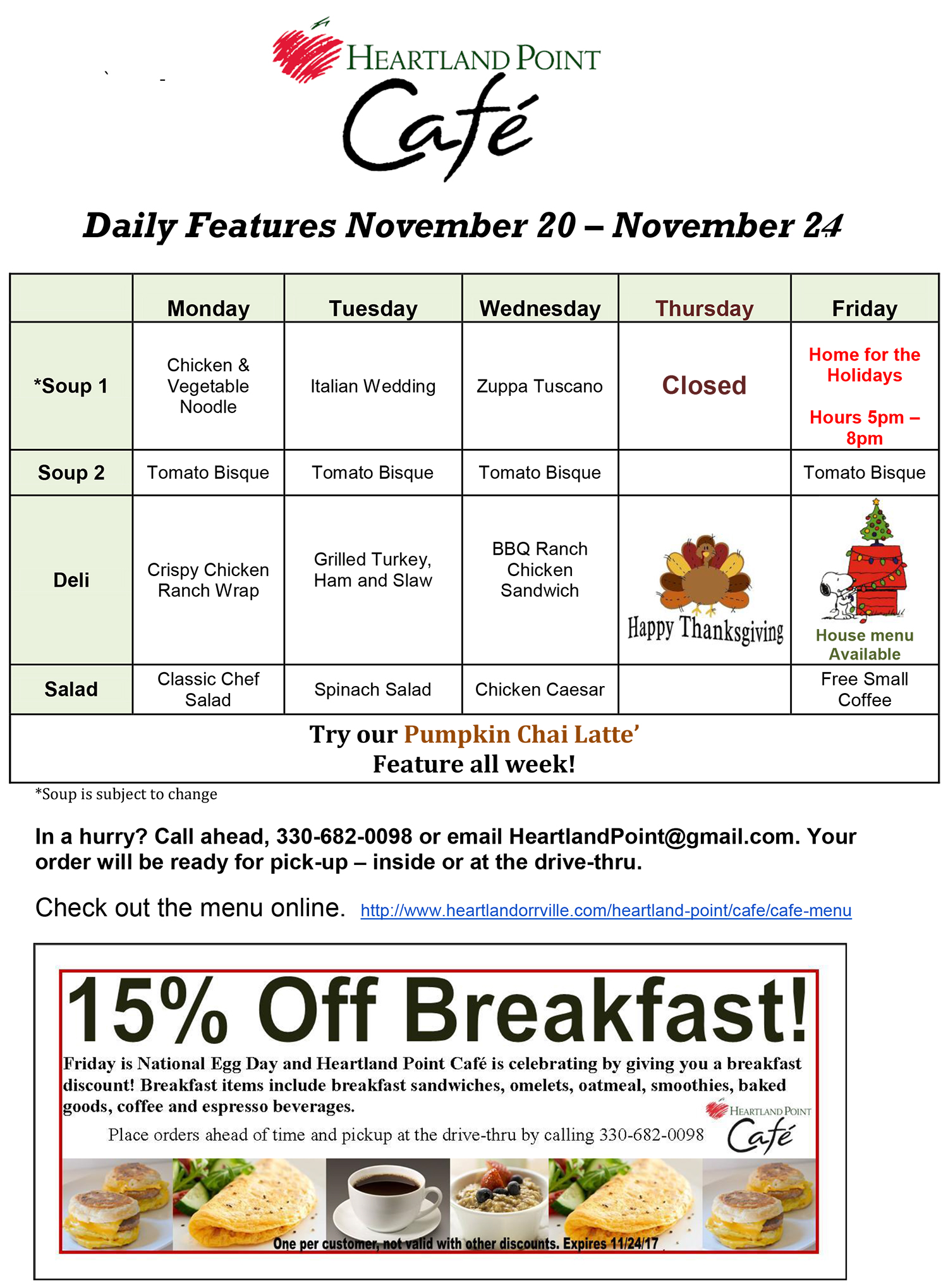 Weekly Menu Features Heartland Educational Community